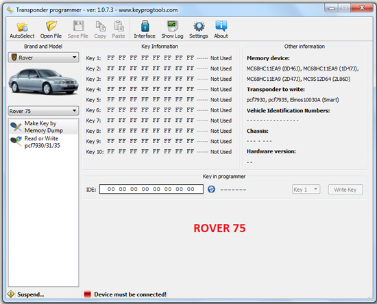 9-ROVER-75-key-learning-programming-device